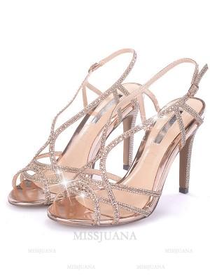 Women's Rhinestone Stiletto Heel Peep Toe Sandals