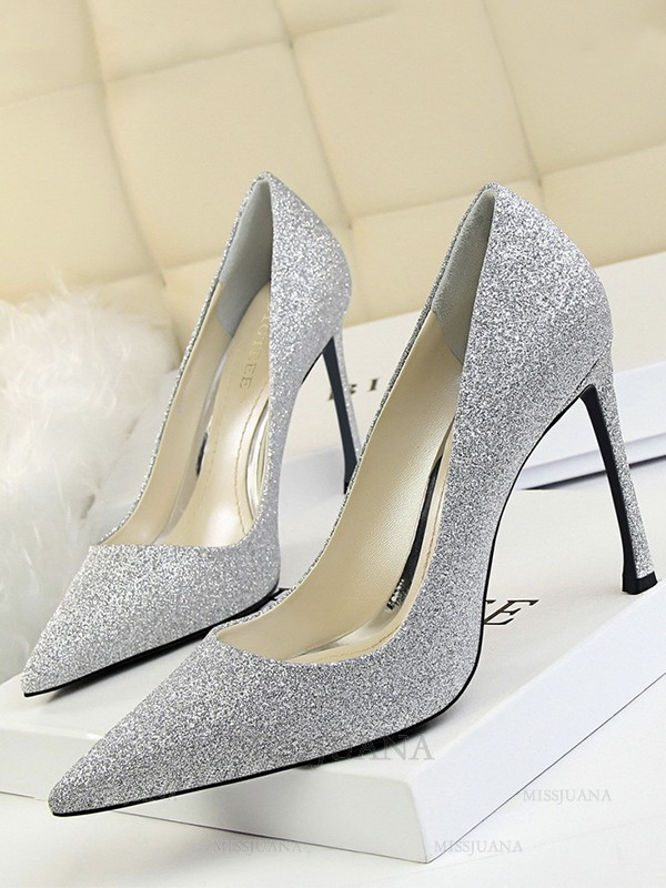 Women's Stiletto Heel Closed Toe Sparkling Glitter High Heels