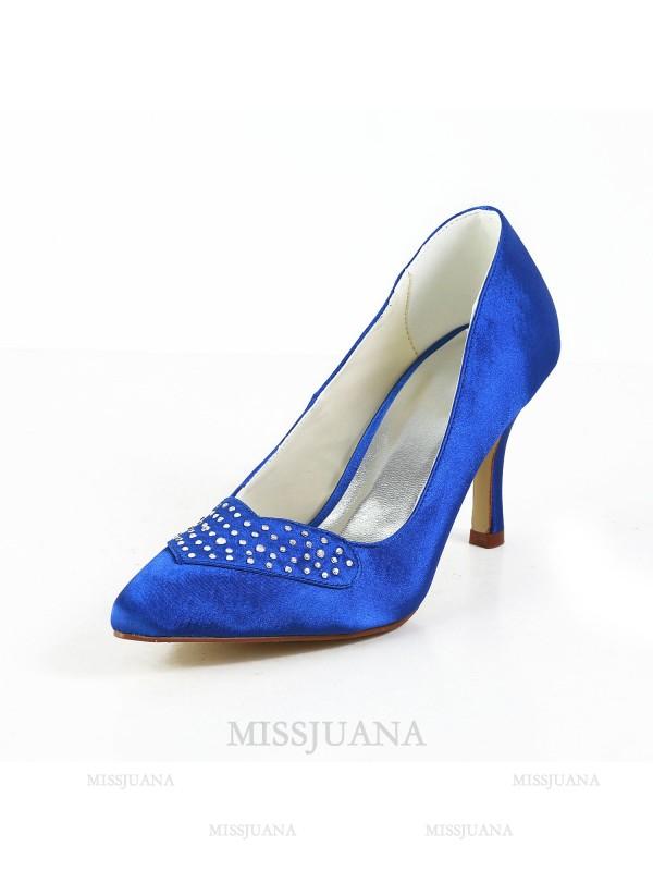 Women's Charming Satin Stiletto Heel Closed Toe High Heels With Rhinestone