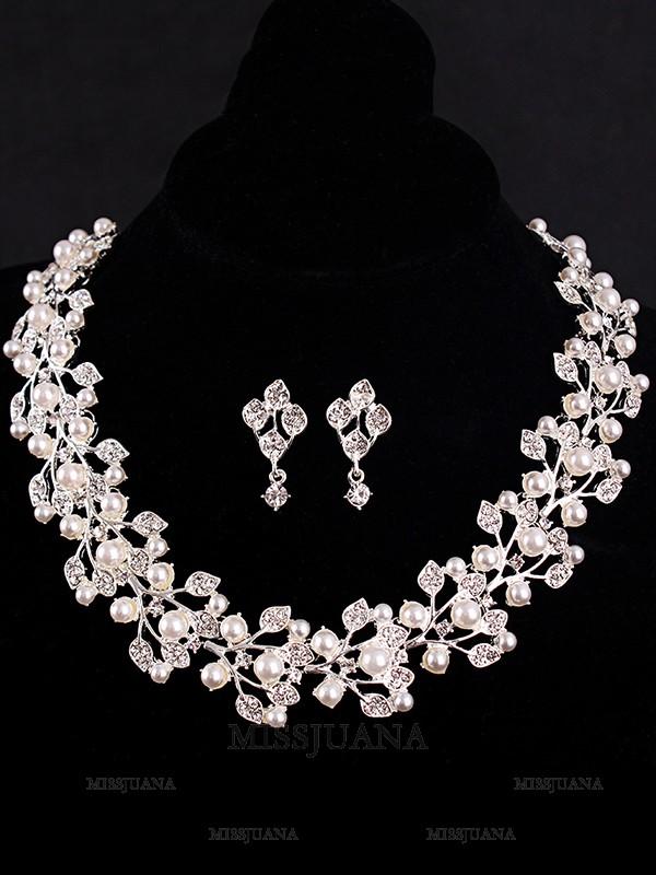 Charming Rhinestone With Pearl Hot Sale Jewelry Set