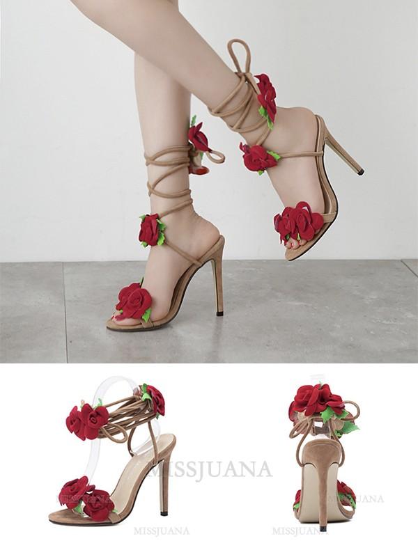 Women's Microfiber With Flower Stiletto Heel Peep Toe Sandals