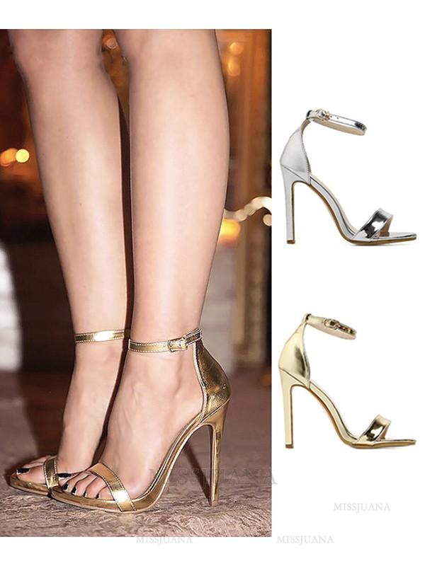 Women's Stiletto Heel Peep Toe PU With Buckle Sandals