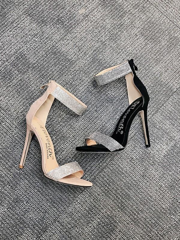 Women's Suede With Sparkling Glitter Stiletto Heel Peep Toe Sandals