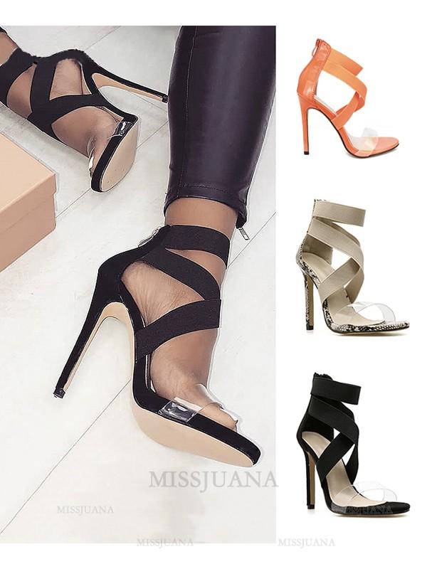 Women's Peep Toe PU Stiletto Heel With Zipper Sandals