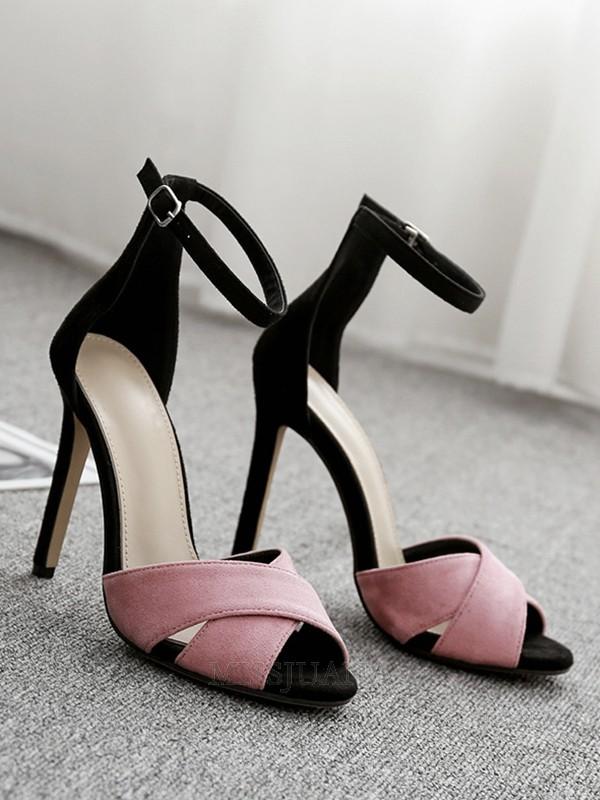 Women's Buckle Peep Toe Suede Stiletto Heel Sandals