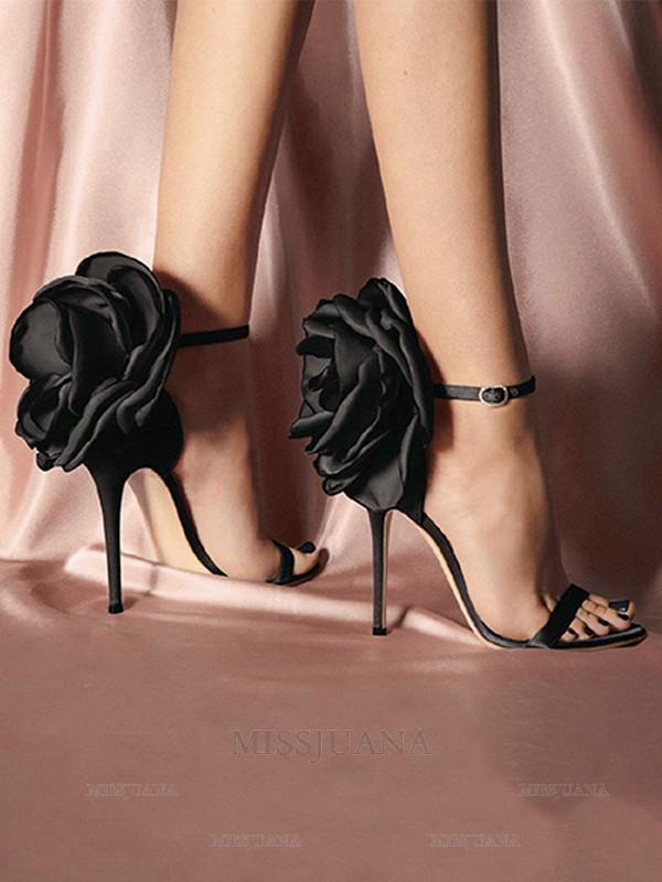Women's PU With Flower Peep Toe Stiletto Heel Sandals