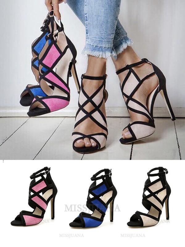Women's Peep Toe Suede Stiletto Heel With Buckle Sandals