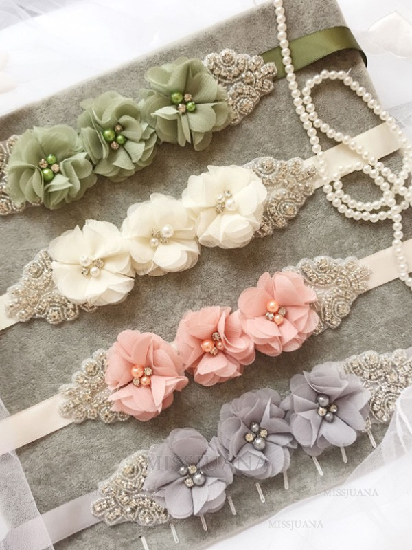 Lovely Satin Sashes With Rhinestones/Imitation Pearls