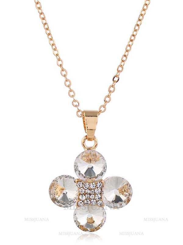 Charming Rhinestone With Flowers Wedding Bridal Jewelry Set