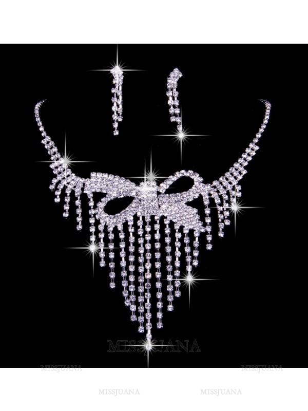 Elegant Czech Rhinestones Wedding Necklaces Earrings Set