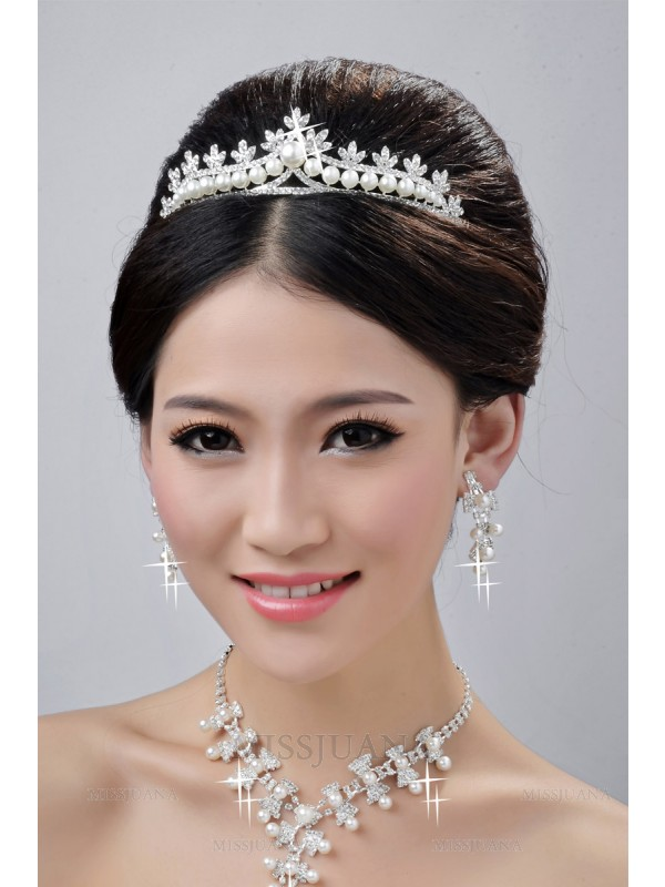Fashionable Alloy Clear Crystals Pearls Wedding Headpieces Necklaces Earrings Set