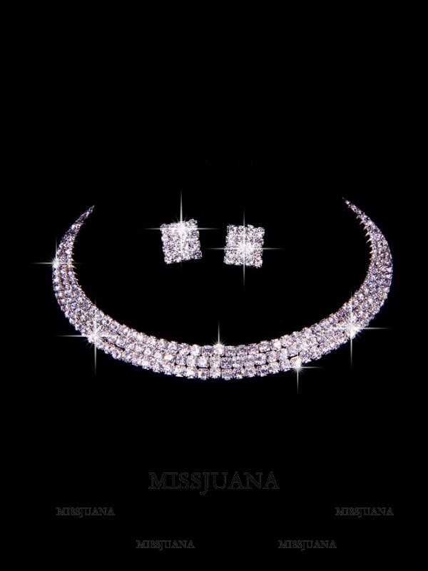 Great Czech Rhinestones Wedding Necklaces Earrings Set