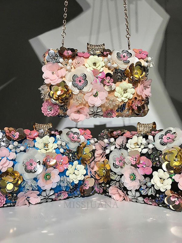 Trending Beading Evening/Party Handbags With Flowers