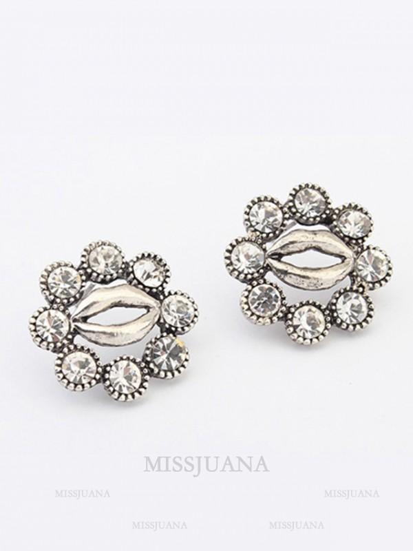 Occident Metallic Personality Hyperbolic Lips Stud Hot Sale Earrings