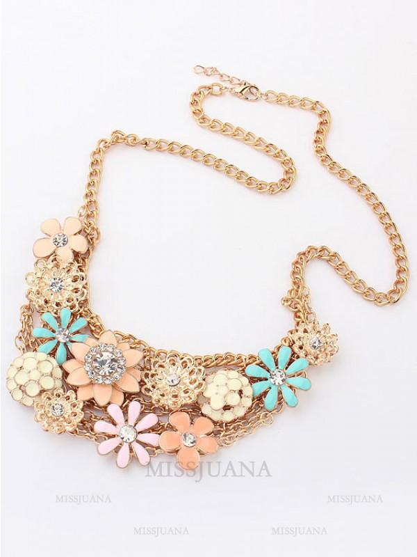 Korean version Sweet Fresh Flowers Metallic Hot Sale Necklace