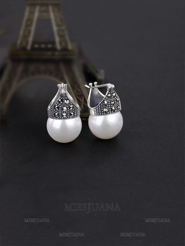Classic S925 Silver With Pearl Ladies's Earrings