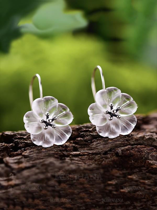 Pretty S925 Silver With Flowers Earrings For Women