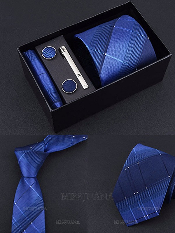 Formal Polyester Tie Tie Clip Cufflinks