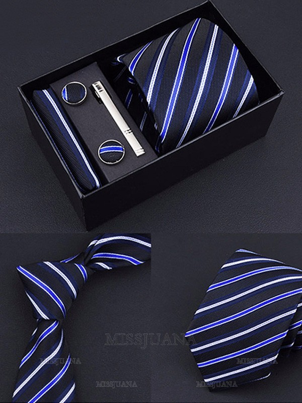 Modern Style Polyester Tie Tie Clip Cufflinks