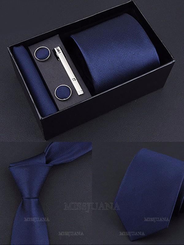 Classic Polyester Tie Tie Clip Cufflinks