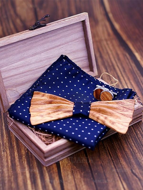 Classic Wood Bow Tie Cufflinks Pocket Square