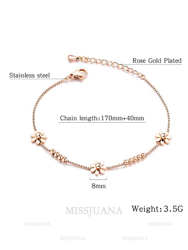 Beautiful Titanium With Flower Pattern Bracelets For Women