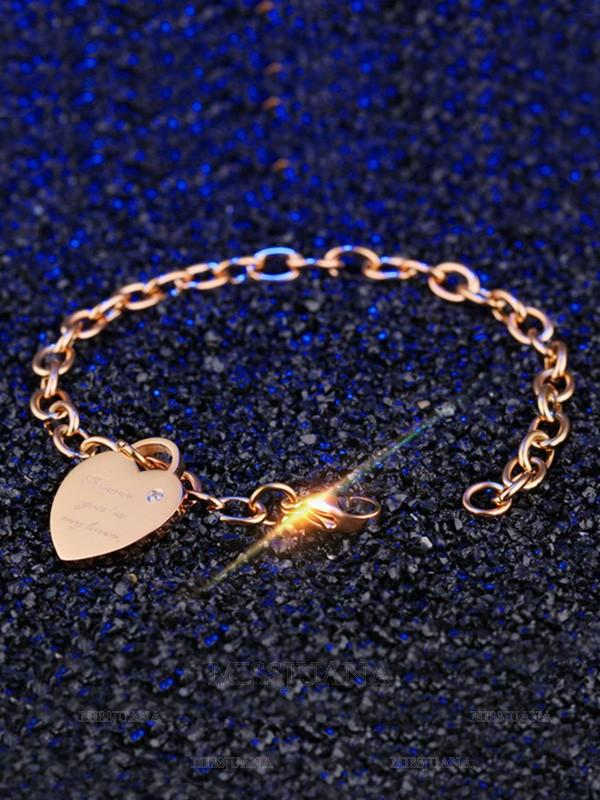 Pretty Titanium With Heart Chain Bracelets For Women