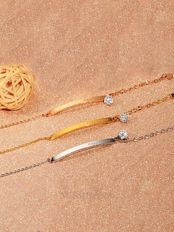Gorgeous Titanium With Rhinestone Chain Bracelets For Ladies