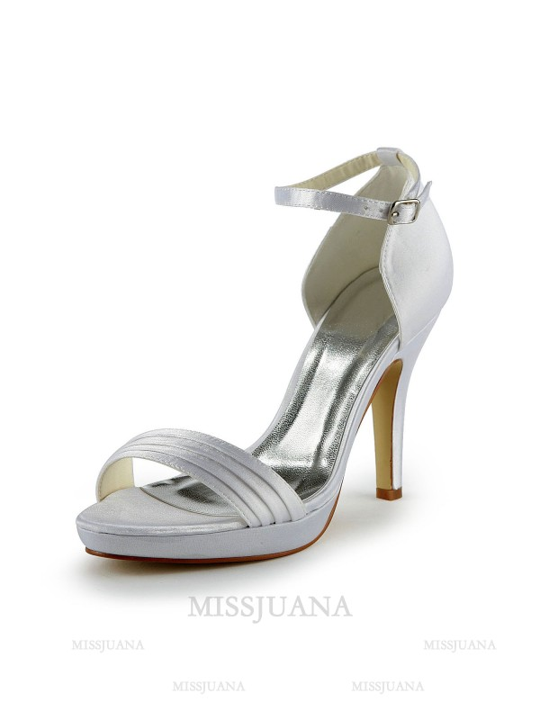 Women's Pretty Satin Stiletto Heel Sandals With Buckle White Wedding Shoes