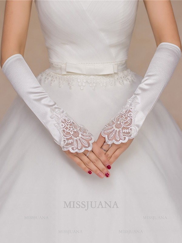 Charming Cloth Applique Wedding Gloves