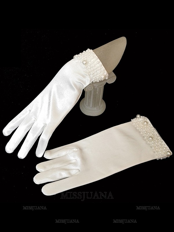 Trending Cloth With Pearl Wedding Gloves