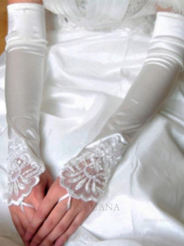 Stunning Cloth Applique Wedding Gloves