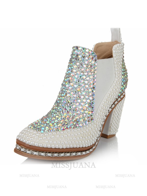 Women's Chunky Heel Closed Toe Patent Leather With Rhinestone White Booties