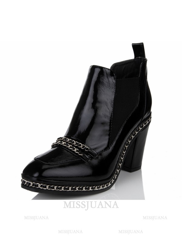 Women's Patent Leather Chunky Heel Closed Toe With Chain Black Booties