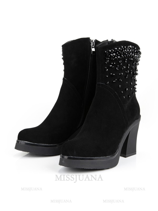 Women's Chunky Heel Platform Closed Toe Suede With Zipper Mid-Calf Black Boots