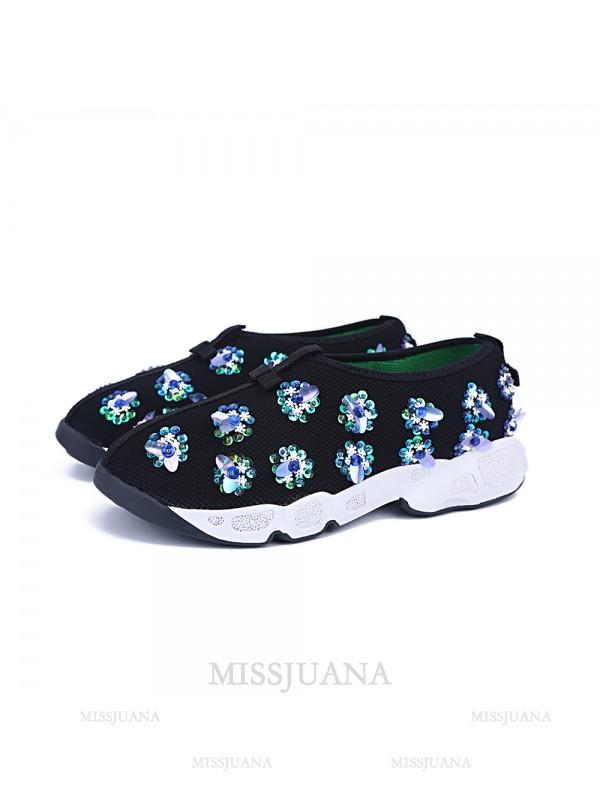 Women's Black Net Flat Heel Closed Toe Casual Black Fashion Sneakers