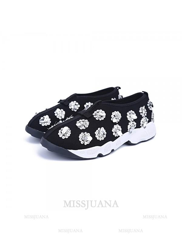 Women's Net Closed Toe Flat Heel Casual Black Fashion Sneakers