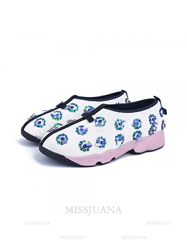 Women's Flat Heel Net Closed Toe Casual White Fashion Sneakers