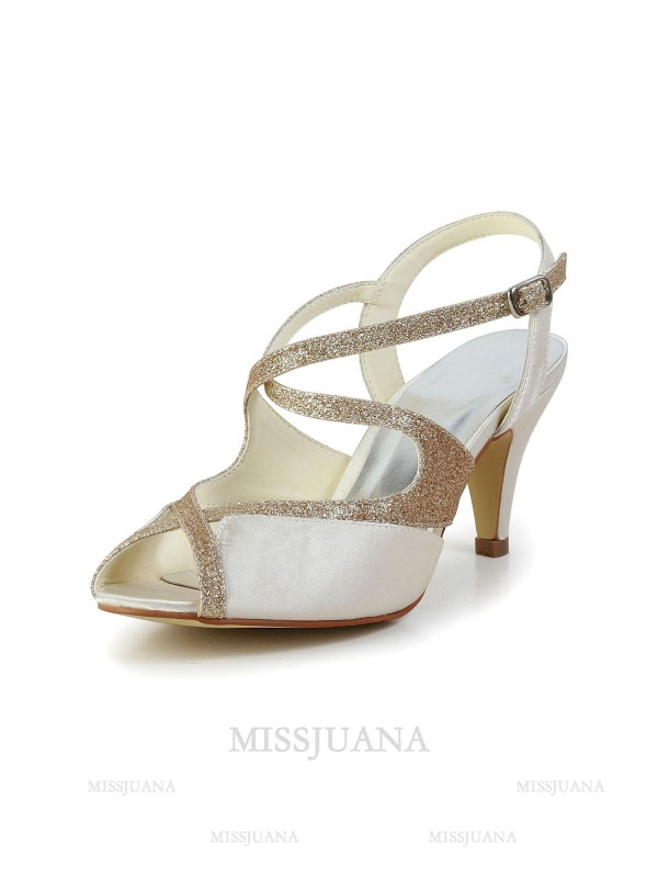 Women's Satin Peep Toe Pumps Sandals Dance Shoes With Rhinestone