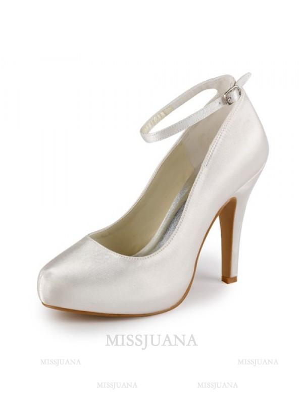 Women's Satin Stiletto Heel Closed Toe Platform Ivory Wedding Shoes With Buckle