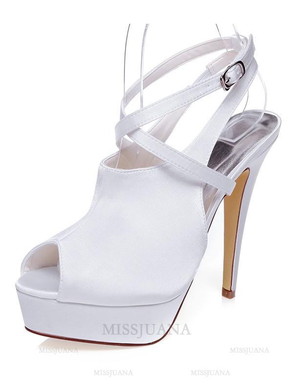 Women's Satin Peep Toe Stiletto Heel Knots Wedding Shoes