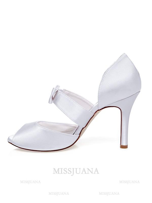 Women's Satin Peep Toe Bowknot Stiletto Heel Wedding Shoes