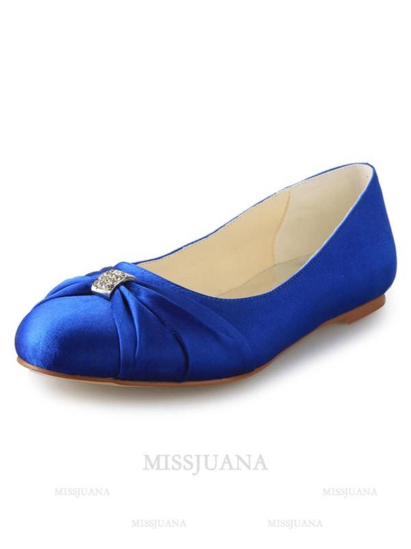 Women's Flat Heel Closed Toe Satin With Rhinestone Flat Shoes