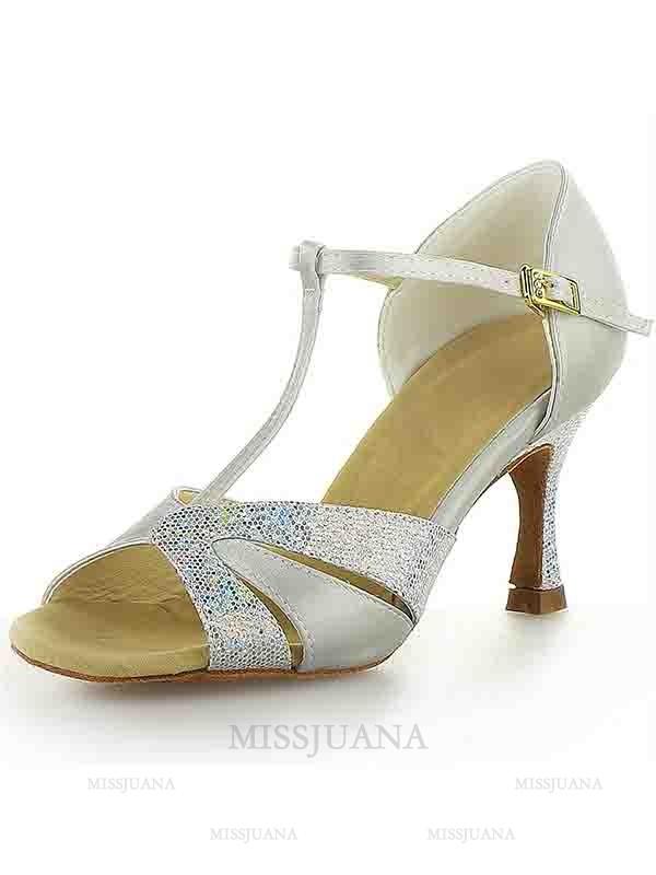 Women's Satin Stiletto Heel Peep Toe Buckle Sparkling Glitter Dance Shoes