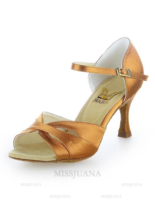Women's Peep Toe Satin Buckle Stiletto Heel Dance Shoes