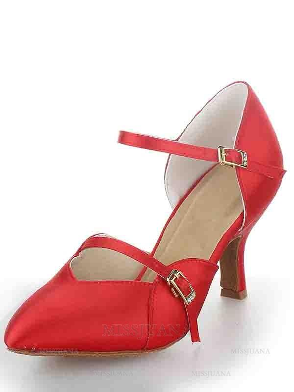 Women's Stiletto Heel Satin Closed Toe Buckle Dance Shoes
