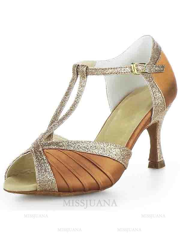 Women's Stiletto Heel Satin Peep Toe Buckle Sparkling Glitter Dance Shoes