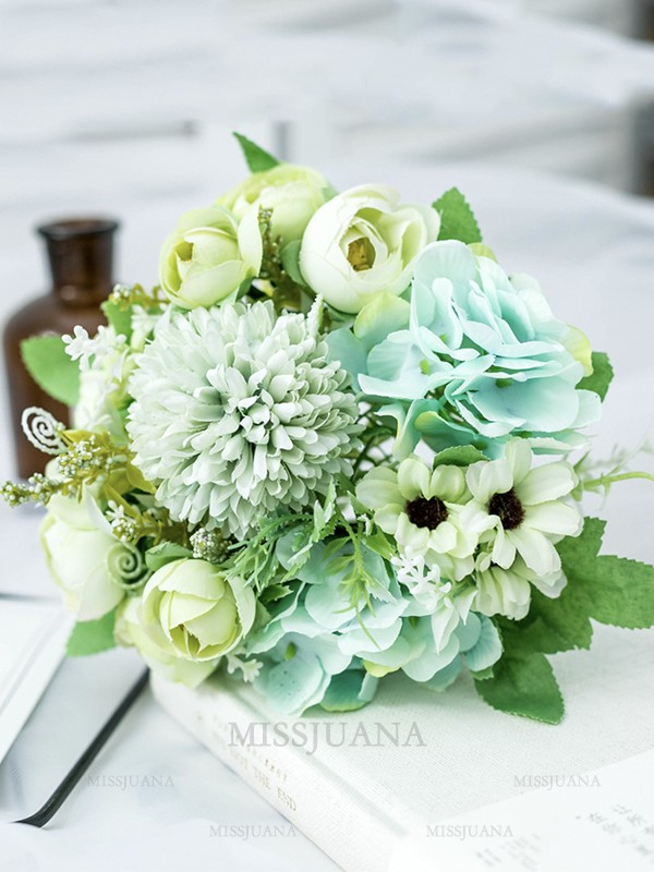 Fancy Free-Form Silk Flower Bridal Bouquets