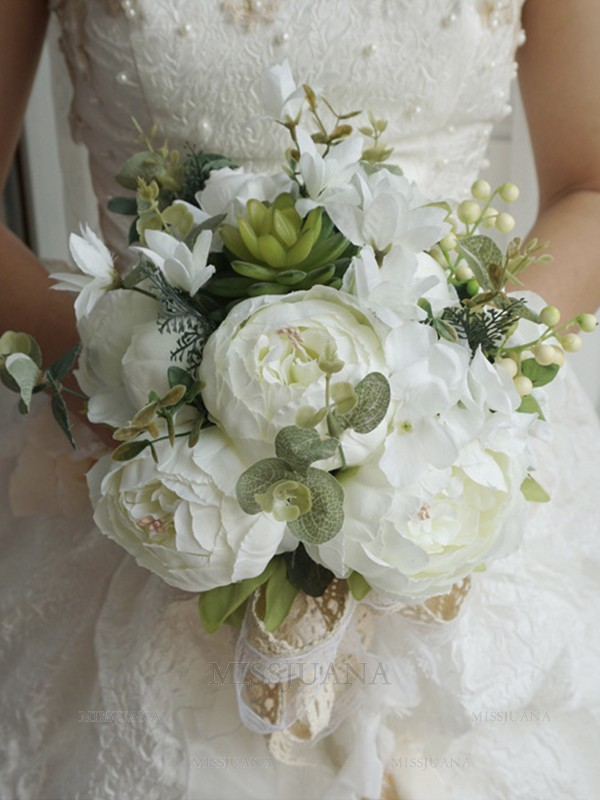 Beautiful Free-Form Silk Flower Bridal Bouquets