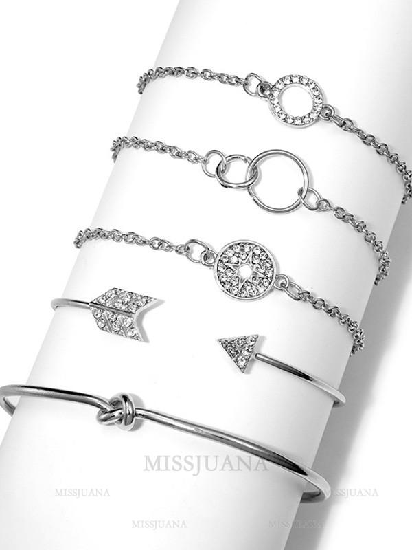Brilliant Alloy With Chain/Rhinestone Hot Sale Bracelets(5 Pieces)